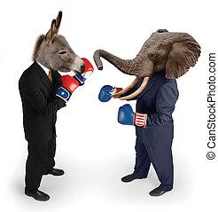 democraat, vs., republikein, op wit