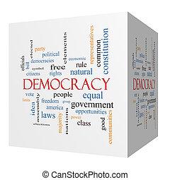 democracia, 3d, cubo, palabra, nube, concepto