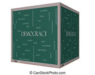 democracia, 3d, cubo, palabra, nube, concepto, en, un, pizarra