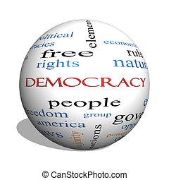 democracia, 3d, esfera, palabra, nube, concepto
