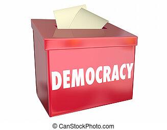 democracia, libertad, opción, voto, urna electoral, 3d, ilustración