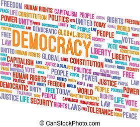 democracia, palabra, nube, 3d