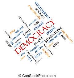 democracia, palabra, nube, concepto, angular