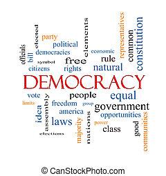 democracia, palabra, nube, concepto