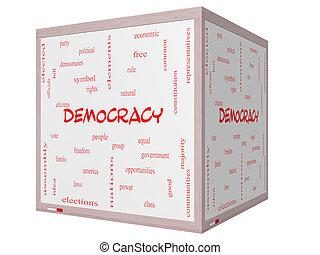 democracia, palabra, nube, concepto, en, un, 3d, cubo, whiteboard