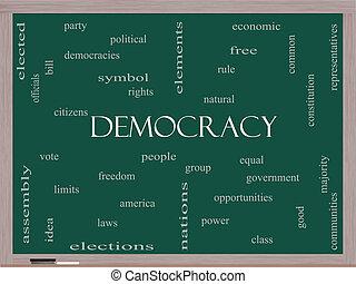 democracia, palabra, nube, concepto, en, un, pizarra