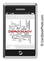 democracia, palabra, nube, concepto, en, un, touchscreen, teléfono
