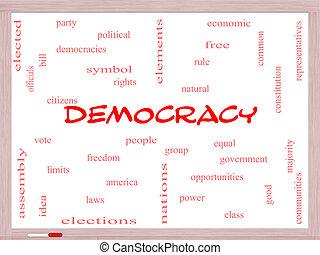 democracia, palabra, nube, concepto, en, un, whiteboard
