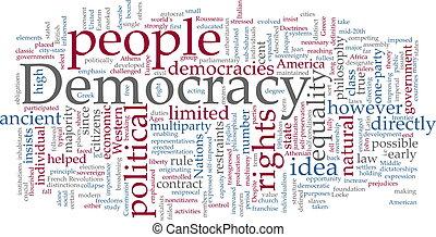 democracia, palavra, nuvem