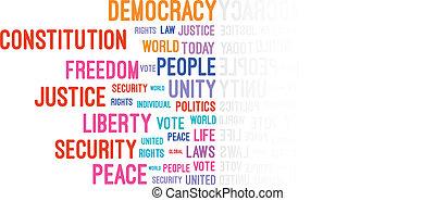 democracia, palavra, nuvem, conceito