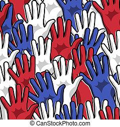 democracia, votando, mãos cima, padrão