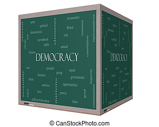 Democracy 3D cube Word Cloud Concept on a Blackboard