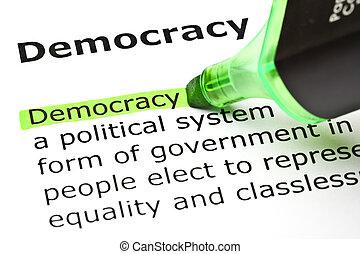 'democracy', aangepunt, in, groene