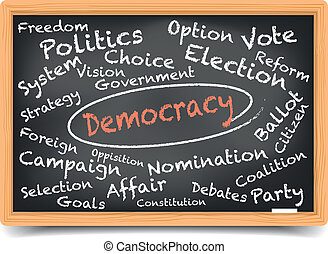 "detailed illustration of a ""Democracy"" wordcloud on a blackboard, eps10 vector, gradient mesh included"