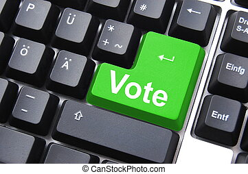 vote button - democracy concept with vote button on keyboard...