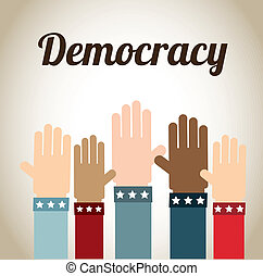 democracy design over beige background vector illustration