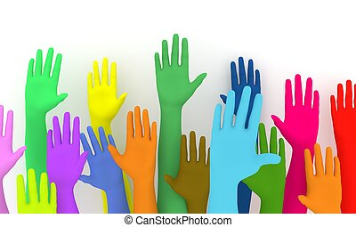 Democracy - Illustration of a colorful group of raised hands