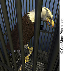 Democracy in America: Incarceration Nation - A bald eagle,...