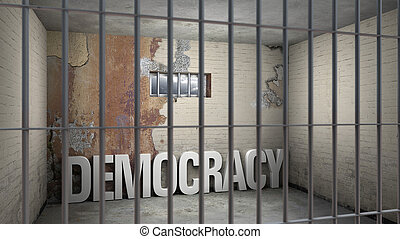 democracy in prison - symbolic 3D rendering concerning...