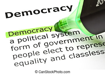 'democracy', kijelölt, alatt, zöld