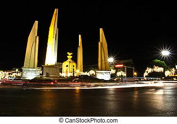 Democracy monument at night, bangkok, Thailand.