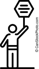 Democracy protest man icon, outline style - Democracy ...