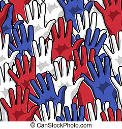 Democracy voting hands up seamless pattern background. Vector file layered for easy manipulation and custom coloring.