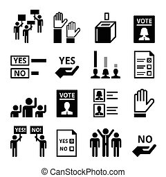 Democracy, voting, politics icons - People raising hands, ...