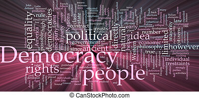 Democracy word cloud glowing