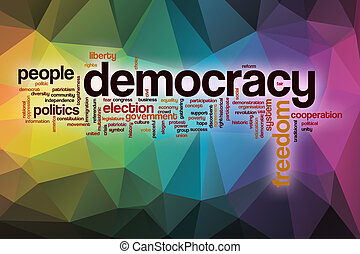 Democracy word cloud with abstract background