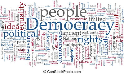 Democracy word cloud - Word cloud concept illustration of...