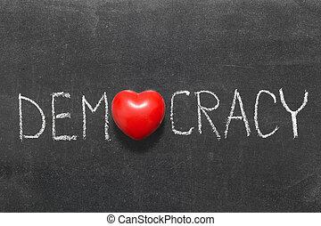 democracy word handwritten on blackboard with heart symbol ...