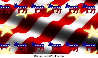 Democrat American Flag Looping Animated Background