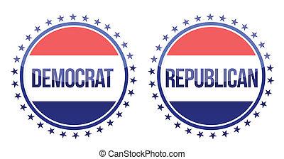 democrat and republican seals