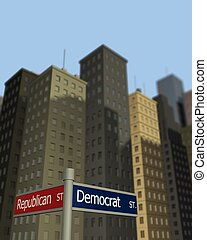 Democrat and Republican Streets - 3D signs to Democrat and...