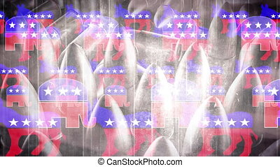 Democrat and Republican symbols with a faint American flag and bullets looping background