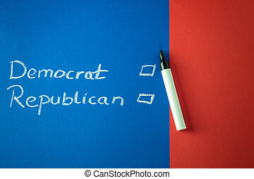Democrat and Republican written with chalk