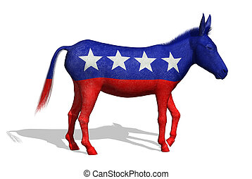 Democrat Donkey - 3D render of a painted donkey - the symbol...