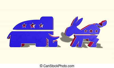 Democrat Donkey and Republican Elephant - The Democratic...