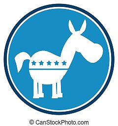 Democrat Donkey Blue Circle Label. Illustration Flat Design ...