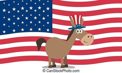 Democrat Donkey Cartoon Character With Uncle Sam Hat Over ...