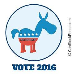 Democrat Donkey Circle Label