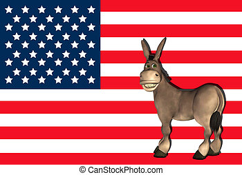 Democrat Donkey - Illustration of a cartoon donkey in front...