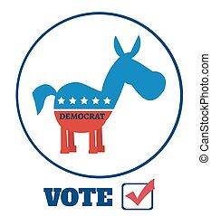 Democrat Donkey Label With Text