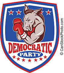 Democrat Donkey Mascot Shield - Illustration of a democrat...