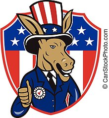 Illustration of a democrat donkey mascot of the democratic grand old party gop wearing hat showing thumbs up set inside shield with american stars and stripes in the background done in cartoon style.