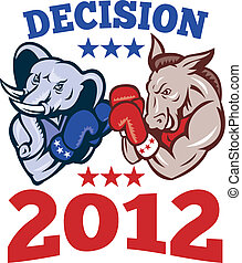 Democrat Donkey Republican Elephant Mascot - Illustration of...