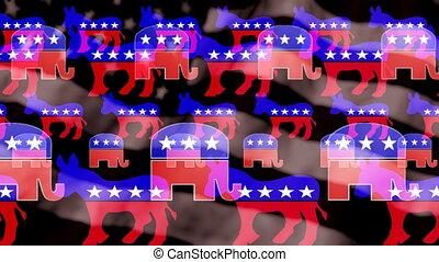 Democrat Donkey Republican Elephant Looping Animated...