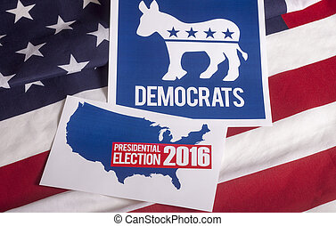 Democrat Election Vote and American Flag - Democrat election...