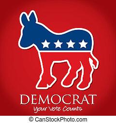 "Democrat - ""Democrat Your Vote Counts"" election card/poster..."